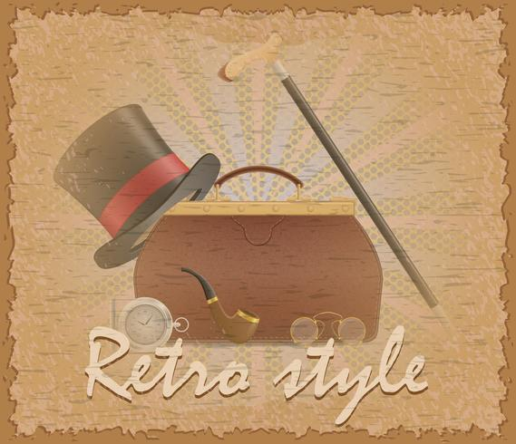 retro style poster old valise and mens accessories vector illustration