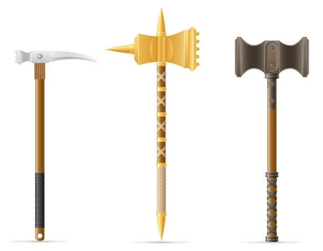 Mittelalterliche Vektorillustration des Kampfhammers