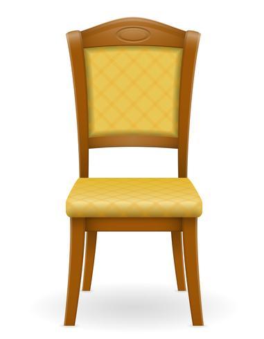 houten stoelmeubilair met opgevulde rugleuning en zetels vectorillustratie