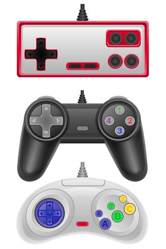 set icons joysticks obsolete for gaming consoles vector illustration EPS 10