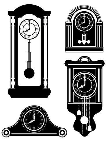 reloj viejo retro vintage icono stock vector ilustración negro contorno silueta