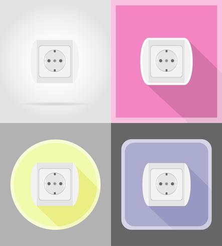 icone piane presa elettrica illustrazione vettoriale