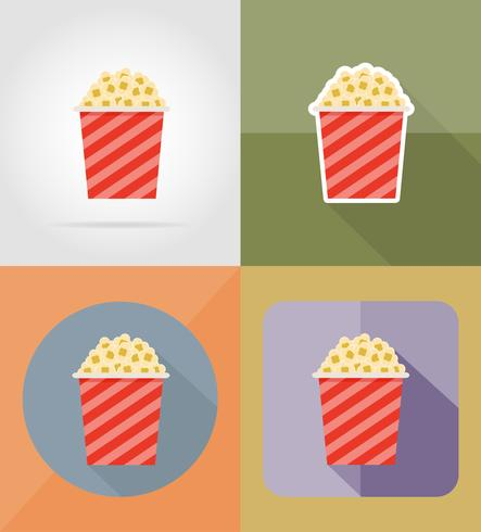 Ilustración de vector de iconos planos de cine palomitas de maíz