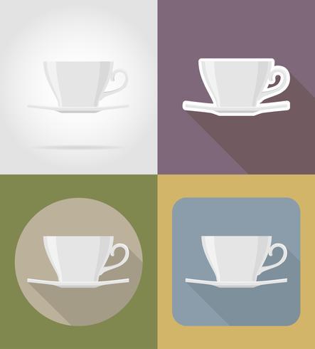 oggetti e attrezzature del piattino della tazza per l'illustrazione di vettore dell'alimento