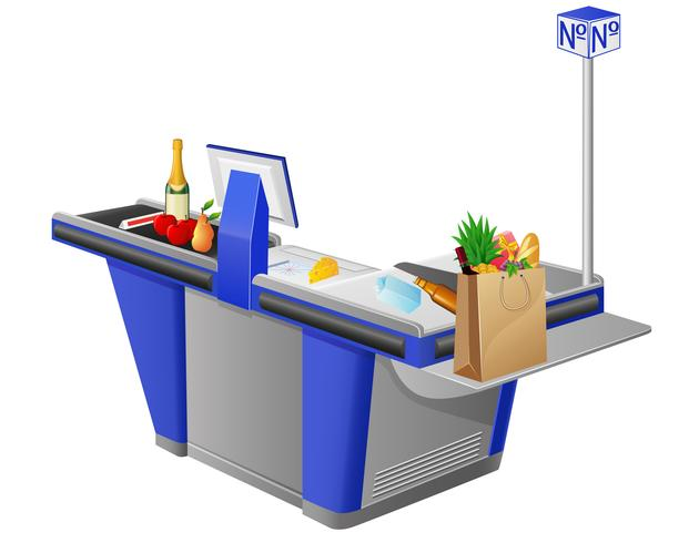 cash register terminal and foodstuffs vector