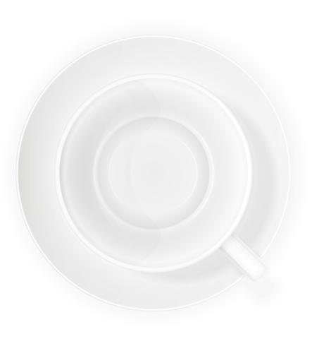 porslin kopp och tallrik topp bild vektor illustration