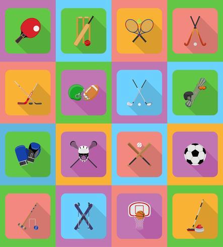 sportutrustning platt ikoner illustration
