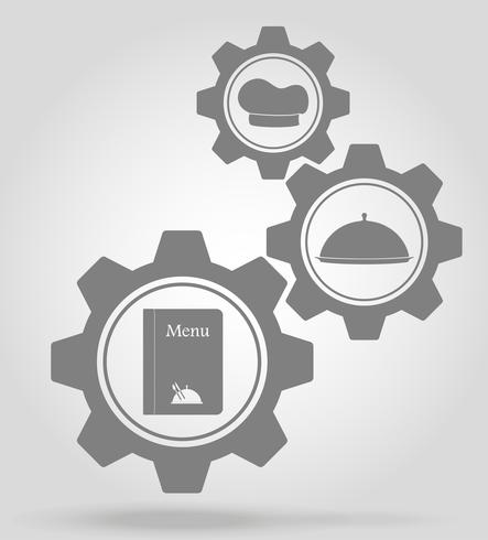 restaurant gear mechanism concept vector illustration