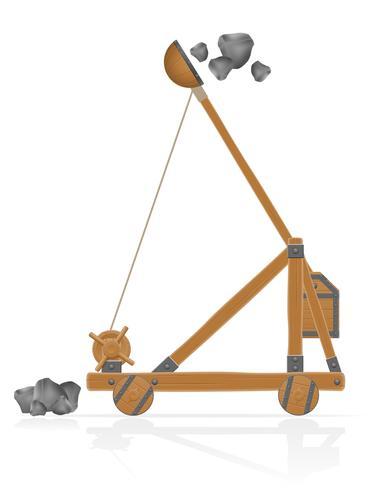 catapulta de madeira velha atirando pedras ilustração vetorial