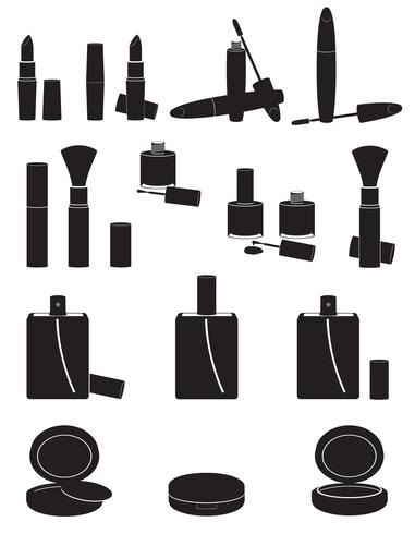 set icons cosmetics black silhouette vector illustration