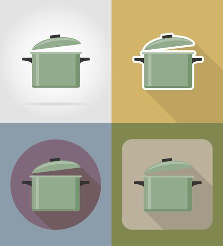 Objetos de cacerola y equipo para la ilustración de vector de comida