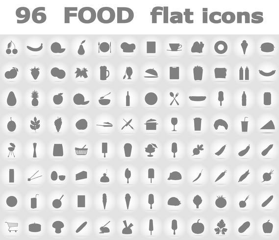 iconos planos de alimentos vector illustration