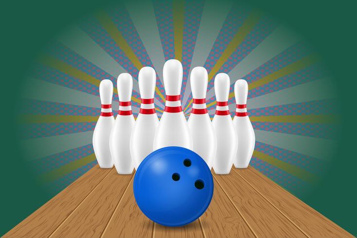 bowling ball and pin vector illustration