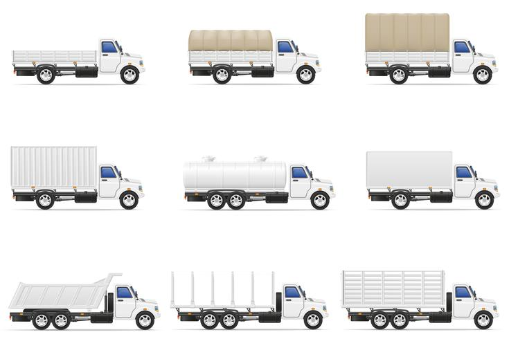 set ikoner lastbil semi trailer vektor illustration