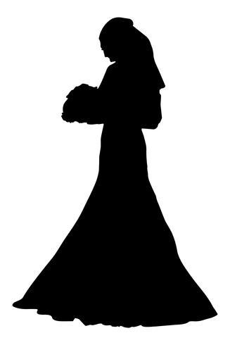 ilustração em vetor silhueta realista noiva