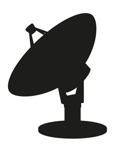 Ilustración de vector de silueta de satélite plato negro