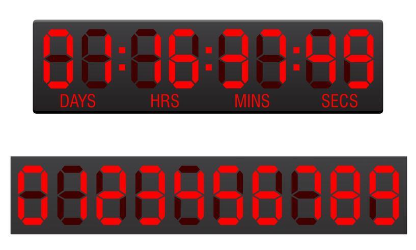 ilustração em vetor digital contagem regressiva placar