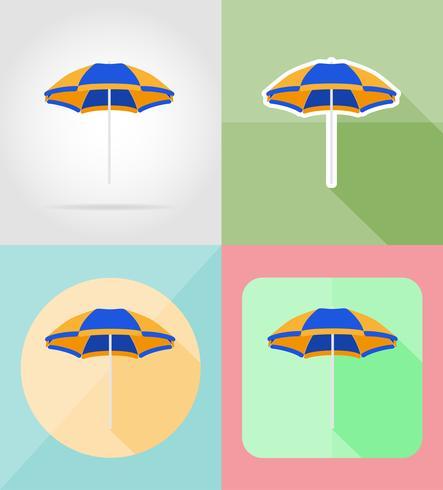 Playa color paraguas iconos planos vector illustration