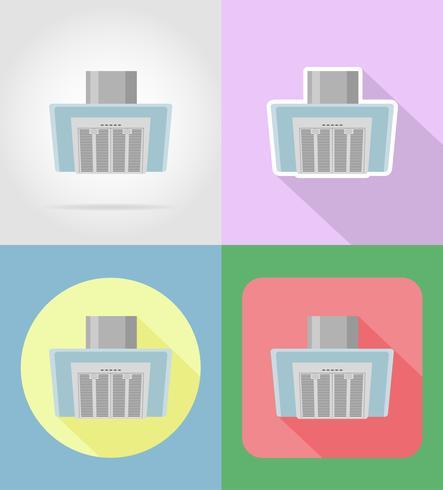 extraire les appareils ménagers hotte pour cuisine icônes plats vector illustration