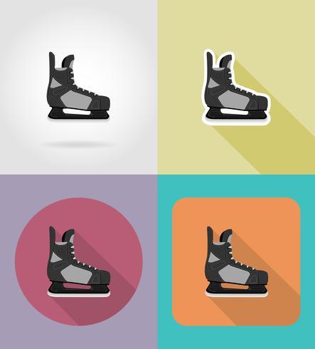 l'hockey pattina icone piane illustrazione vettoriale