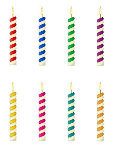 Kerzen für die Geburtstagstorte-Vektorillustration vektor