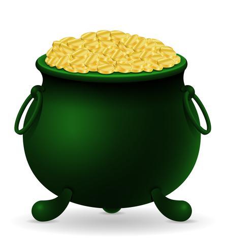 caldeirão de dia de São Patrício com ilustração em vetor estoque moedas de ouro
