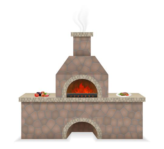 barbecue oven built of stone vector illustration