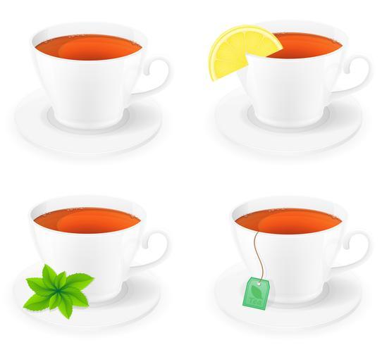 tazza di tè in porcellana con limone e menta vista laterale illustrazione vettoriale