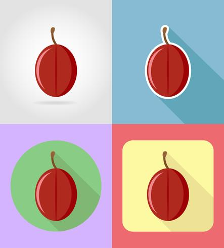plum fruits flat set icons with the shadow vector illustration