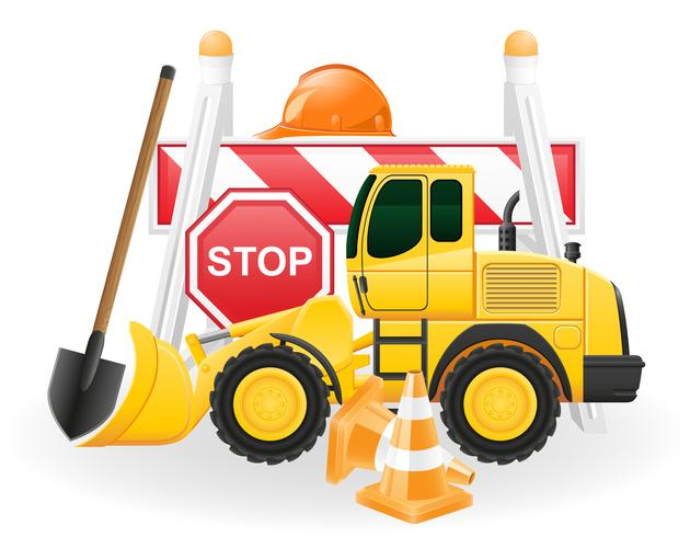 road works concept icons vector illustration
