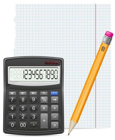pedaço de calculadora de papel e lápis de ilustração vetorial