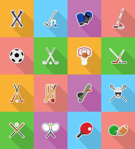 sport equipment flat icons illustration vector