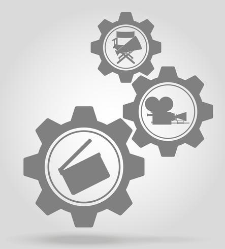 illustrazione di vettore di concetto di meccanismo di ingranaggio cinema