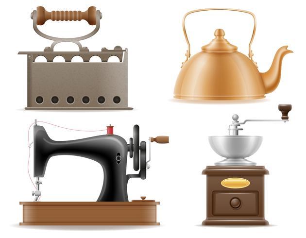 Electrodomésticos antiguos retro vintage set iconos stock vector ilustración
