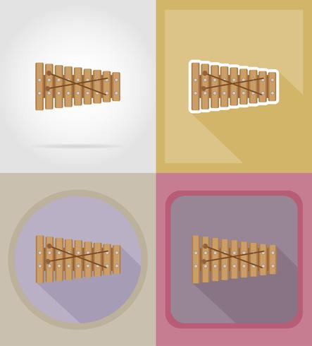 xylophone flat icons vector illustration