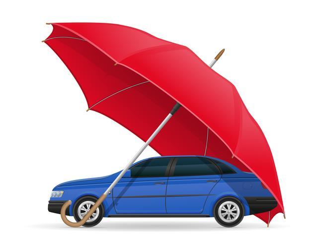 concepto de ilustración de vector paraguas coche protegido y asegurado