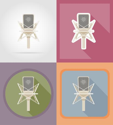 microphones flat icons vector illustration