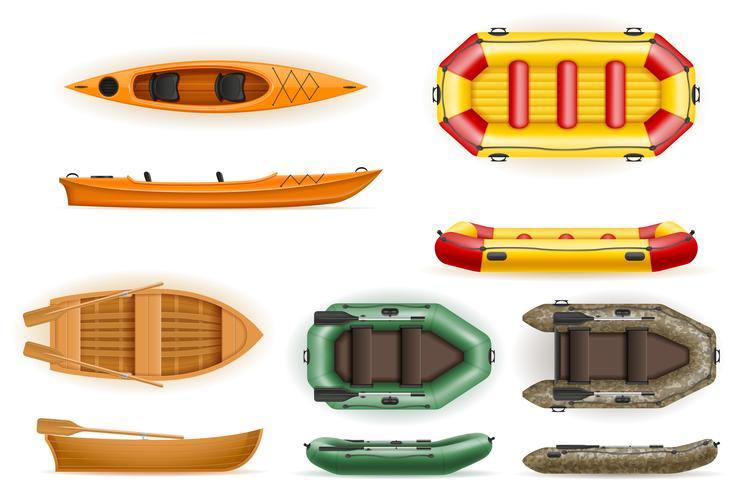 establecer botes de remo de plástico de madera e inflable ilustración vectorial vector