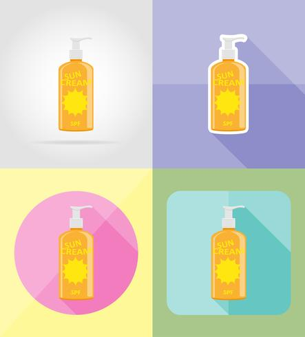 sun cream flat icons vector illustration