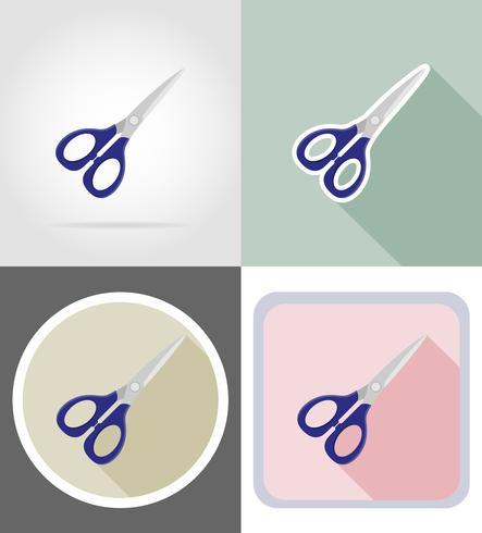 conjunto de equipamentos de papelaria de tesoura planas ícones ilustração vetorial