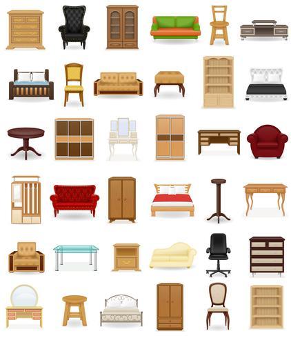 set ikoner möbler vektor illustration