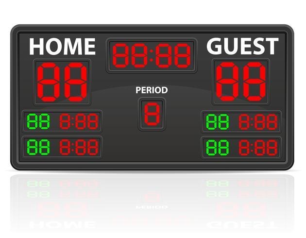 illustrazione di vettore del tabellone segnapunti digitale di sport dell'hockey
