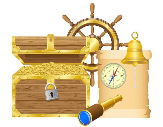 ilustração em vetor antigo baú de tesouro
