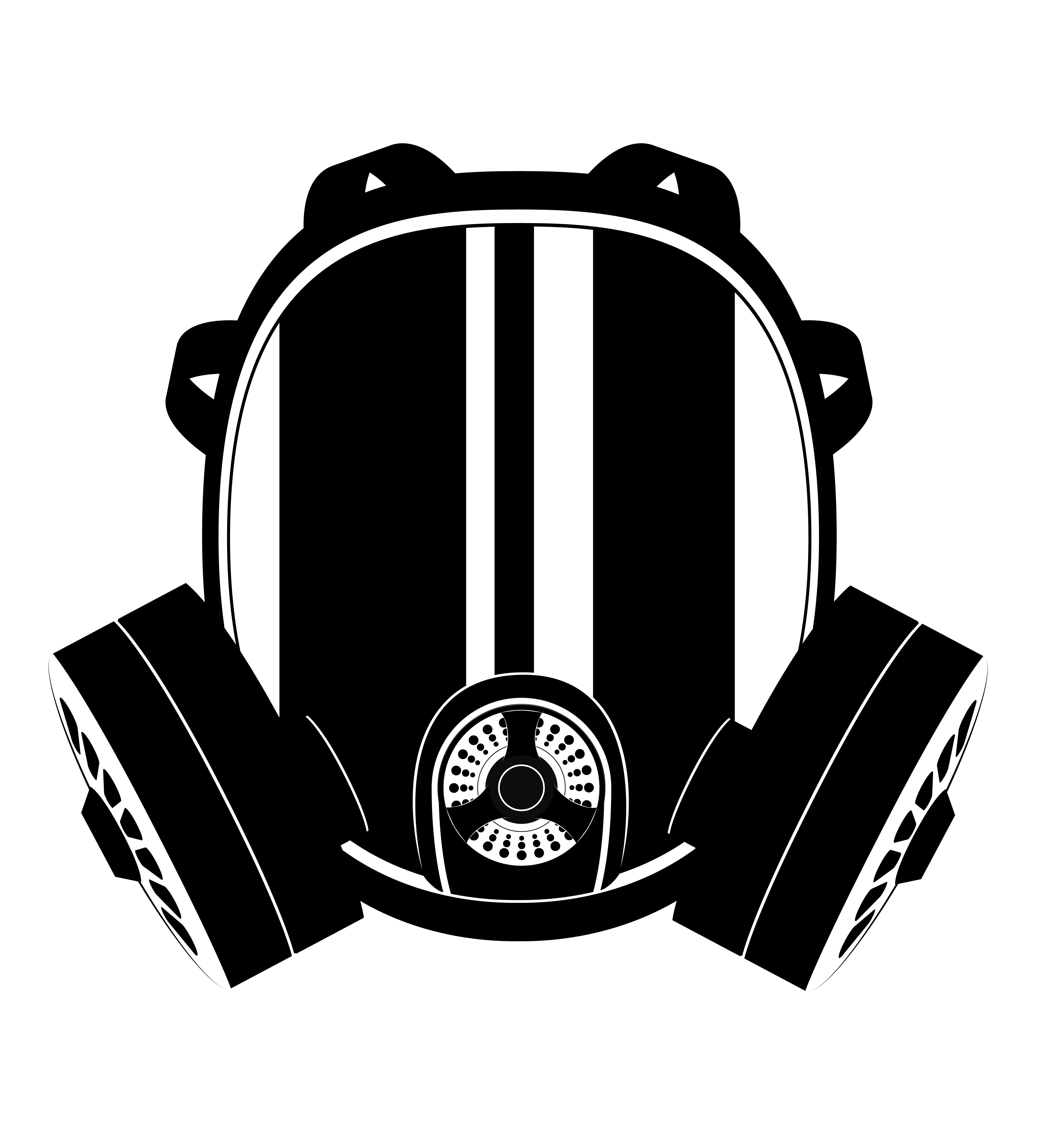 icon gas mask black and white vector illustration ...