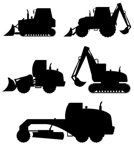 attrezzatura dell'automobile per l'illustrazione di vettore della siluetta nera dei lavori di costruzione