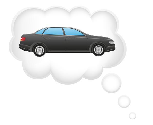 Konzept des Traums eines Autos in der Wolkenvektorillustration
