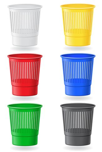 cubo de basura colores vector illustration