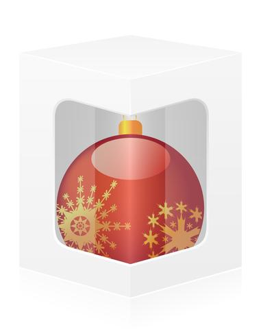 Caja de embalaje de año nuevo con la ilustración de vector de bola
