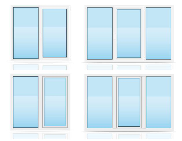 plastic transparent window view indoors and outdoors vector illustration