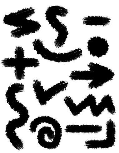 Rastros negros abstractos de trazos de pincel para la ilustración de vector de diseño